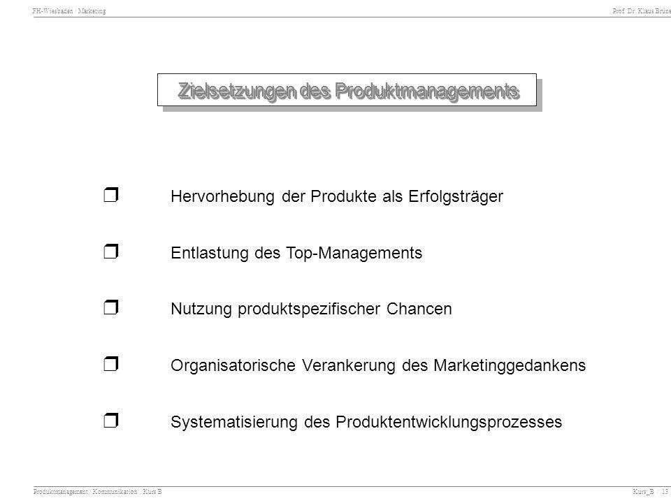 FH-Wiesbaden / Marketing Prof. Dr. Klaus Brüne Produktmanagement / Kommunikation Kurs B Kurs_B / 13 Zielsetzungen des Produktmanagements Hervorhebung