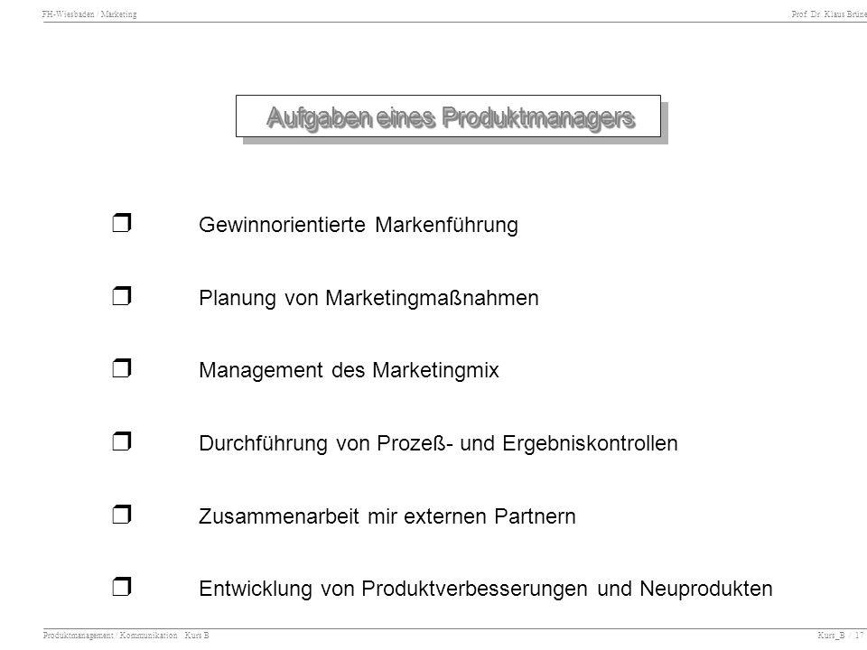 FH-Wiesbaden / Marketing Prof. Dr. Klaus Brüne Produktmanagement / Kommunikation Kurs B Kurs_B / 17 Aufgaben eines Produktmanagers Gewinnorientierte M
