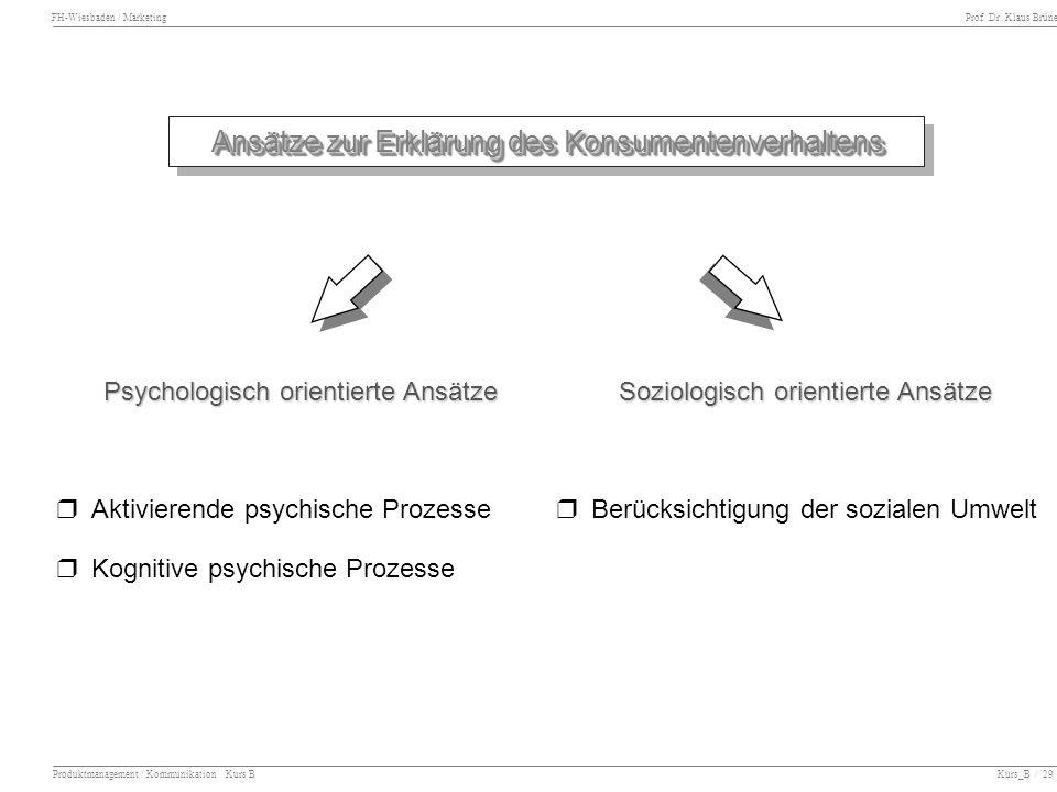 FH-Wiesbaden / Marketing Prof. Dr. Klaus Brüne Produktmanagement / Kommunikation Kurs B Kurs_B / 29 Ansätze zur Erklärung des Konsumentenverhaltens Ps