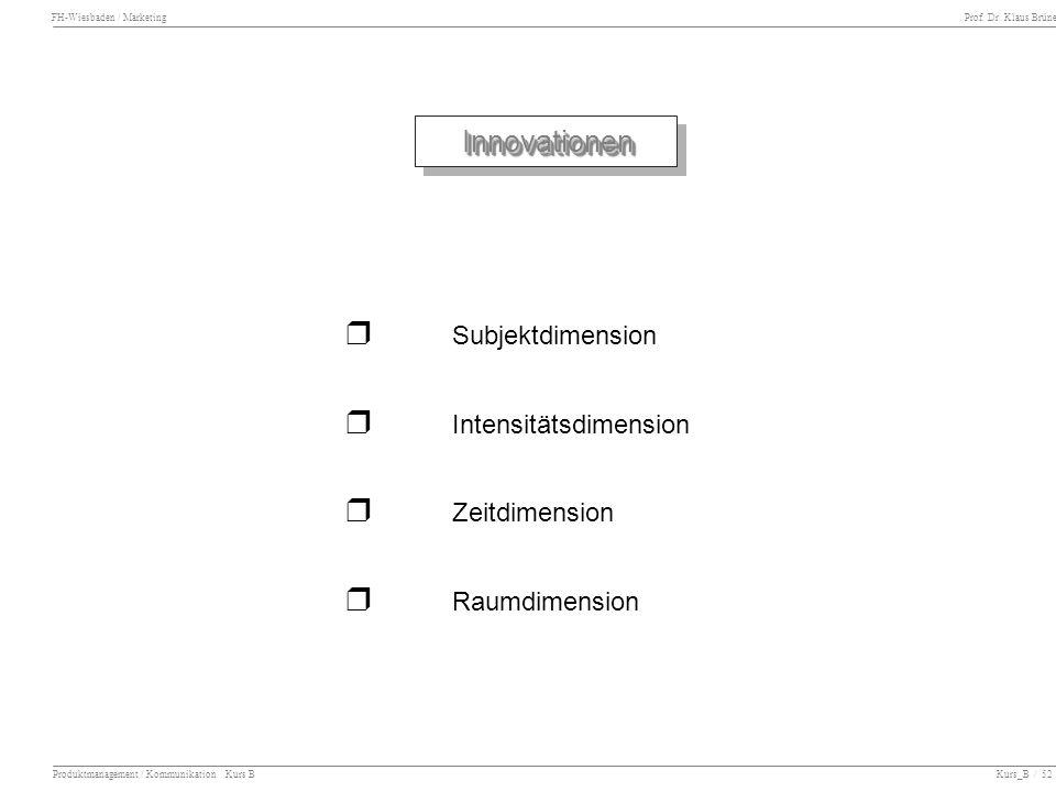 FH-Wiesbaden / Marketing Prof. Dr. Klaus Brüne Produktmanagement / Kommunikation Kurs B Kurs_B / 52 InnovationenInnovationen Subjektdimension Intensit