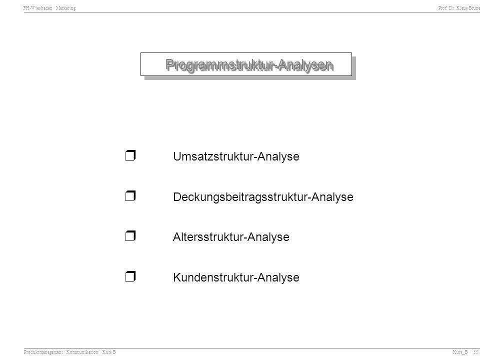 FH-Wiesbaden / Marketing Prof. Dr. Klaus Brüne Produktmanagement / Kommunikation Kurs B Kurs_B / 55 Programmstruktur-AnalysenProgrammstruktur-Analysen