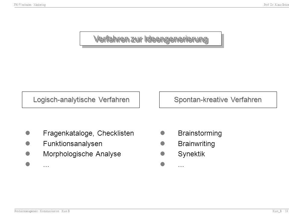 FH-Wiesbaden / Marketing Prof. Dr. Klaus Brüne Produktmanagement / Kommunikation Kurs B Kurs_B / 59 Verfahren zur Ideengenerierung Verfahren zur Ideen