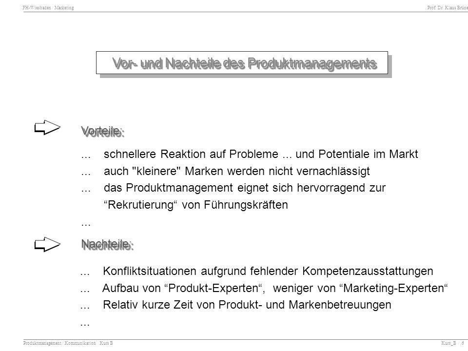 FH-Wiesbaden / Marketing Prof. Dr. Klaus Brüne Produktmanagement / Kommunikation Kurs B Kurs_B / 6 Vor- und Nachteile des Produktmanagements Vor- und