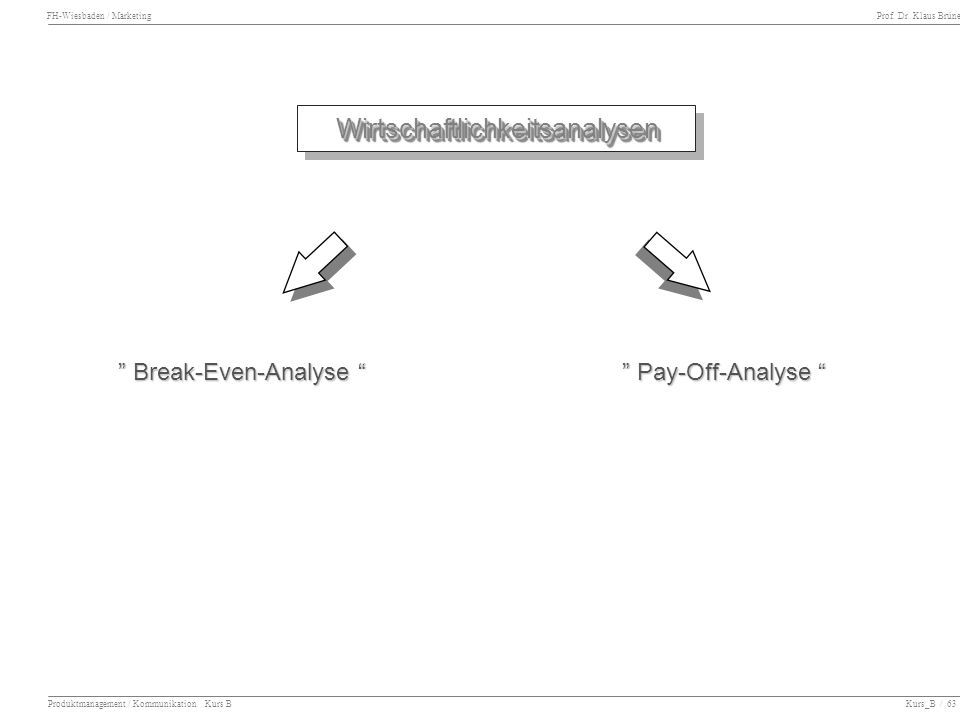 FH-Wiesbaden / Marketing Prof. Dr. Klaus Brüne Produktmanagement / Kommunikation Kurs B Kurs_B / 63 WirtschaftlichkeitsanalysenWirtschaftlichkeitsanal