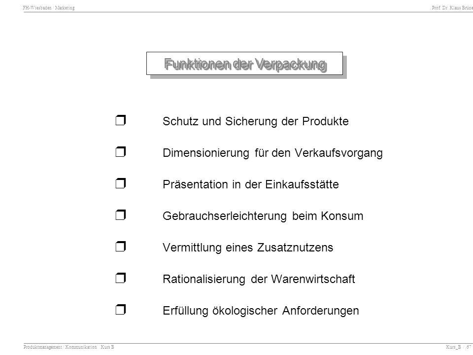 FH-Wiesbaden / Marketing Prof. Dr. Klaus Brüne Produktmanagement / Kommunikation Kurs B Kurs_B / 67 Funktionen der Verpackung Schutz und Sicherung der