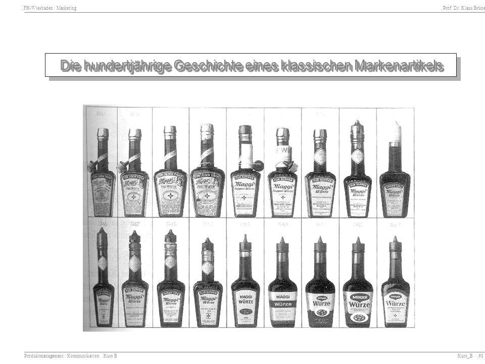 FH-Wiesbaden / Marketing Prof. Dr. Klaus Brüne Produktmanagement / Kommunikation Kurs B Kurs_B / 68 Die hundertjährige Geschichte eines klassischen Ma