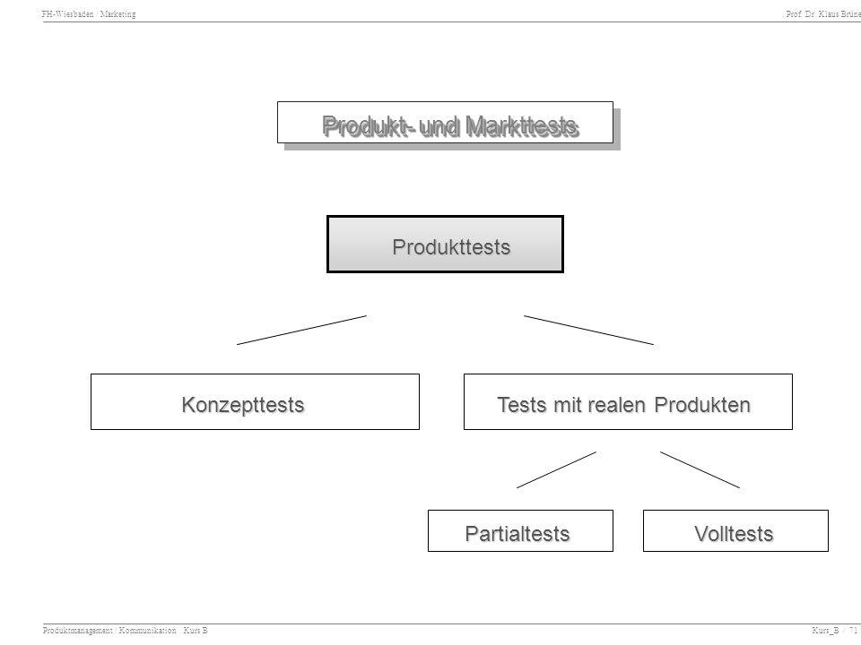FH-Wiesbaden / Marketing Prof. Dr. Klaus Brüne Produktmanagement / Kommunikation Kurs B Kurs_B / 71 Produkt- und Markttests Produkt- und Markttests Ko