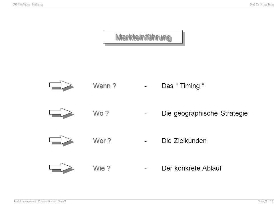 FH-Wiesbaden / Marketing Prof. Dr. Klaus Brüne Produktmanagement / Kommunikation Kurs B Kurs_B / 76 Markteinführung Markteinführung Wann ? -Das Timing