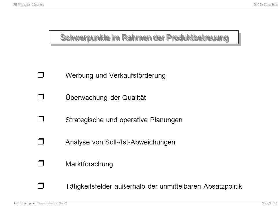 FH-Wiesbaden / Marketing Prof. Dr. Klaus Brüne Produktmanagement / Kommunikation Kurs B Kurs_B / 80 Schwerpunkte im Rahmen der Produktbetreuung Werbun
