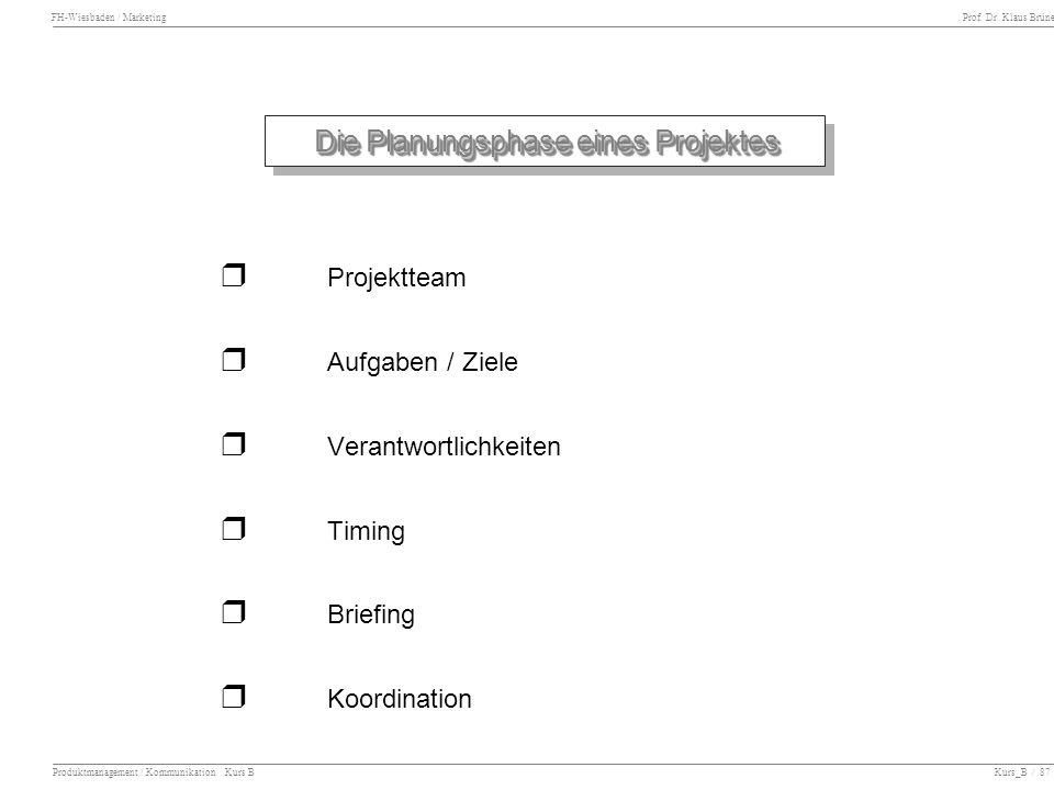 FH-Wiesbaden / Marketing Prof. Dr. Klaus Brüne Produktmanagement / Kommunikation Kurs B Kurs_B / 87 Die Planungsphase eines Projektes Projektteam Aufg