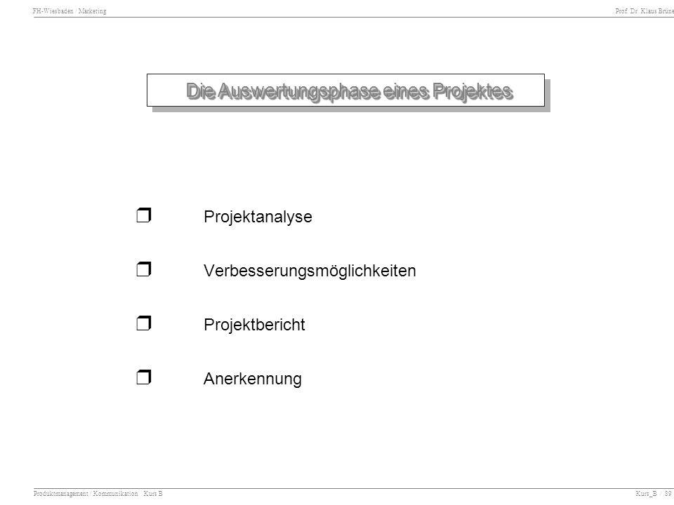 FH-Wiesbaden / Marketing Prof. Dr. Klaus Brüne Produktmanagement / Kommunikation Kurs B Kurs_B / 89 Die Auswertungsphase eines Projektes Projektanalys