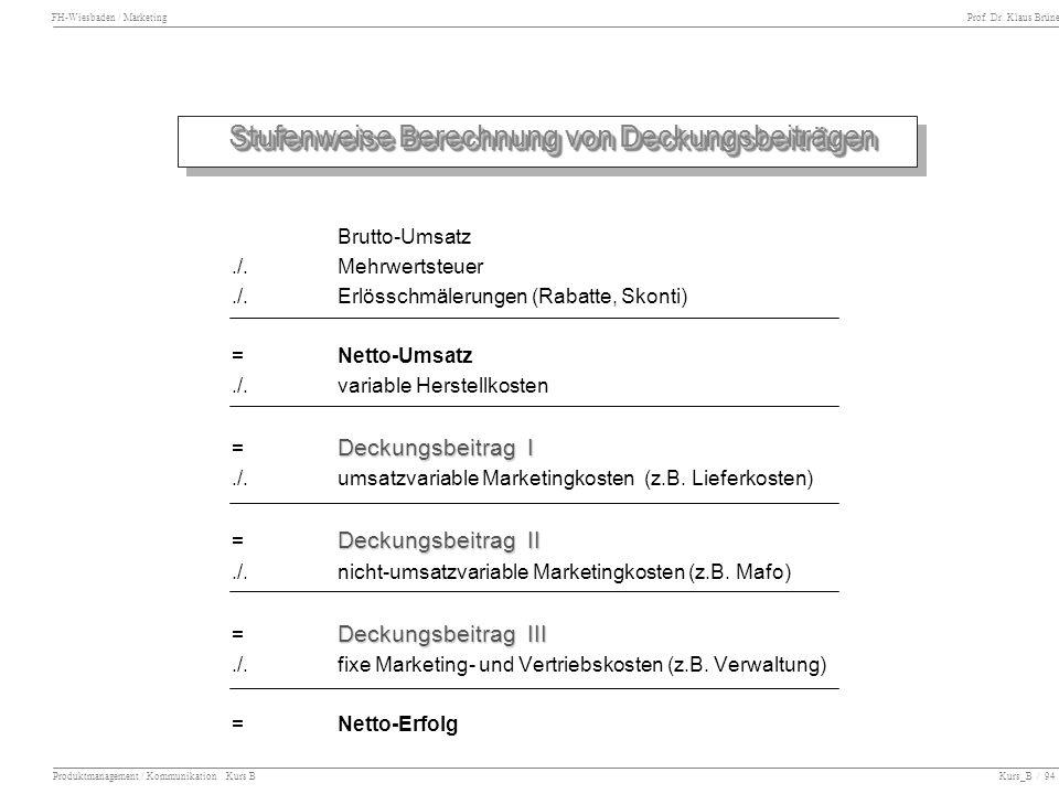 FH-Wiesbaden / Marketing Prof. Dr. Klaus Brüne Produktmanagement / Kommunikation Kurs B Kurs_B / 94 Stufenweise Berechnung von Deckungsbeiträgen Stufe