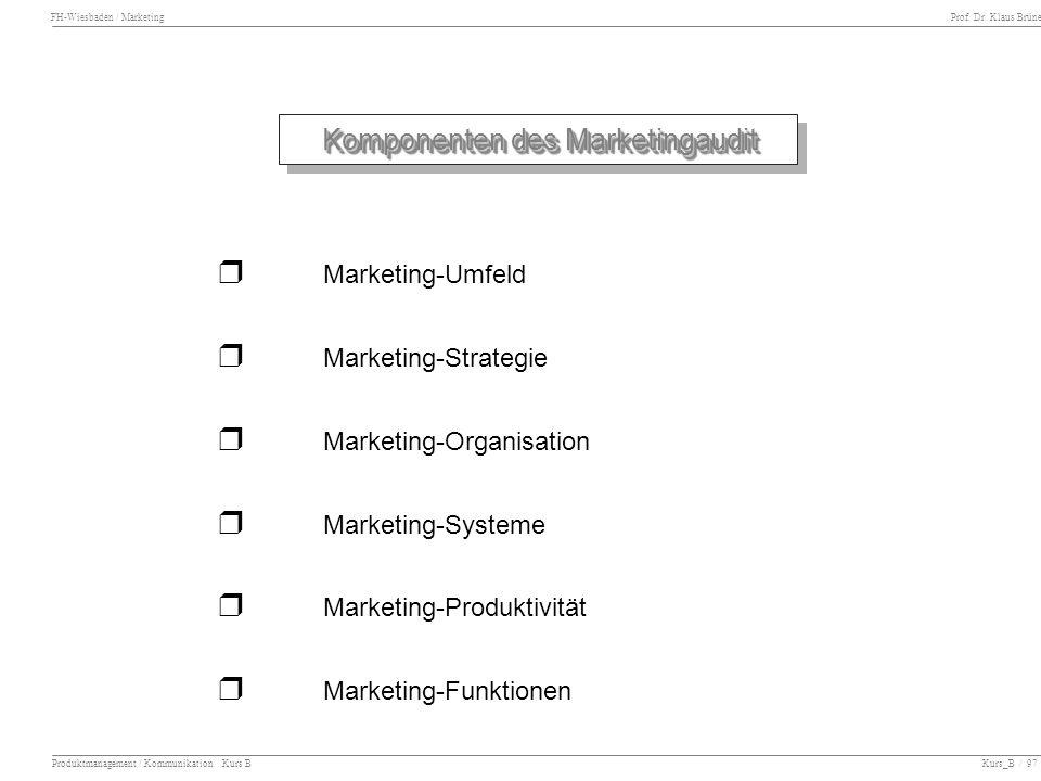 FH-Wiesbaden / Marketing Prof. Dr. Klaus Brüne Produktmanagement / Kommunikation Kurs B Kurs_B / 97 Komponenten des Marketingaudit Marketing-Umfeld Ma