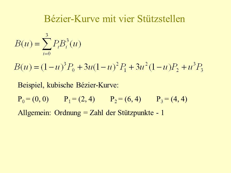Bézier-Kurve mit vier Stützstellen Beispiel, kubische Bézier-Kurve: P 0 = (0, 0)P 1 = (2, 4)P 2 = (6, 4)P 3 = (4, 4) Allgemein: Ordnung = Zahl der Stü