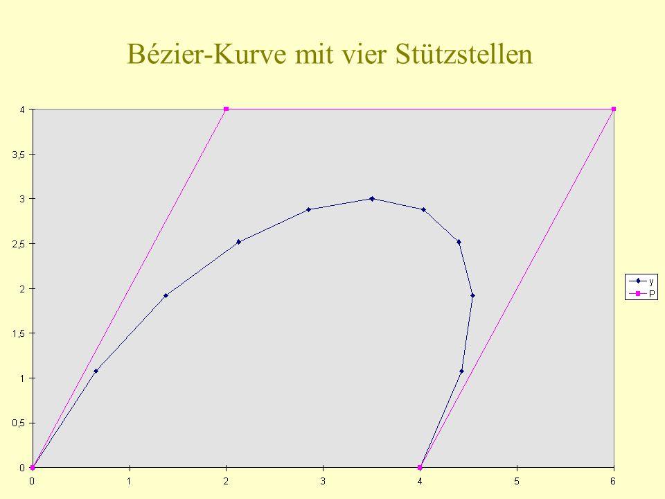 Bézier-Kurve mit vier Stützstellen