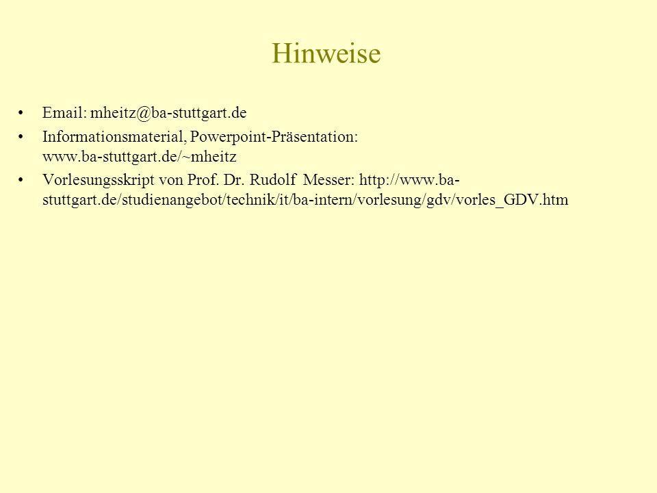 Hinweise Email: mheitz@ba-stuttgart.de Informationsmaterial, Powerpoint-Präsentation: www.ba-stuttgart.de/~mheitz Vorlesungsskript von Prof. Dr. Rudol
