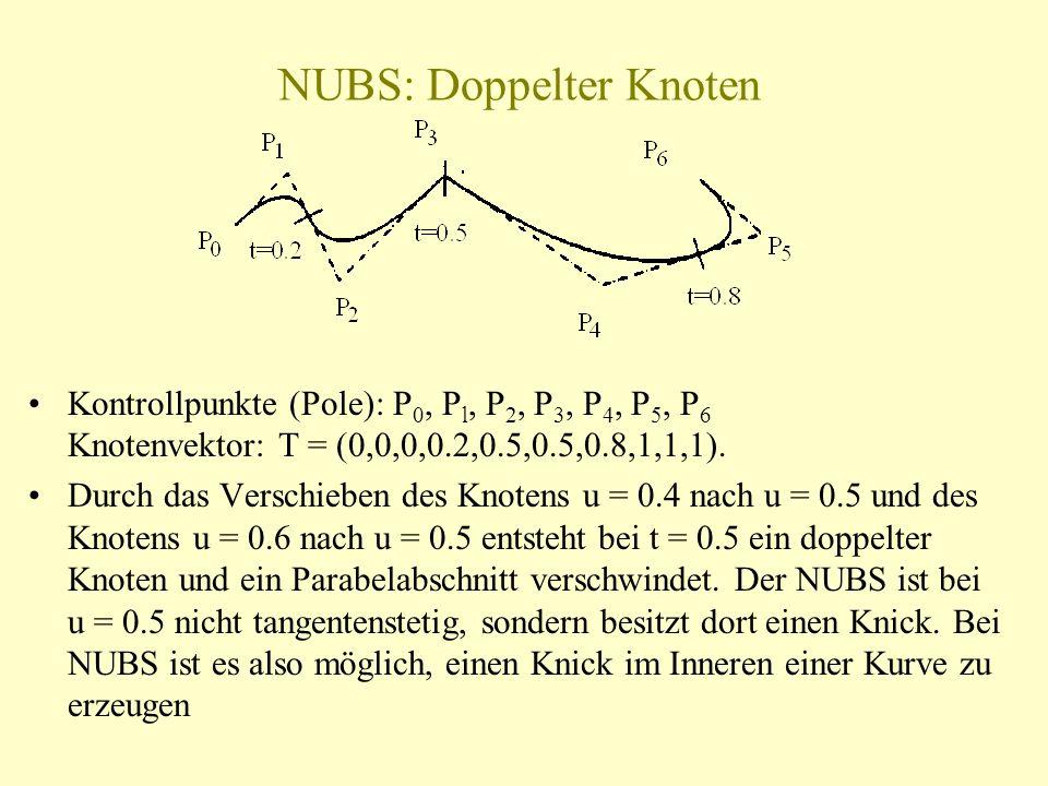 NUBS: Doppelter Knoten Kontrollpunkte (Pole): P 0, P l, P 2, P 3, P 4, P 5, P 6 Knotenvektor: T = (0,0,0,0.2,0.5,0.5,0.8,1,1,1). Durch das Verschieben
