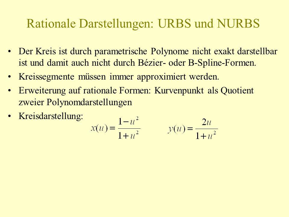 Rationale Darstellungen: URBS und NURBS Der Kreis ist durch parametrische Polynome nicht exakt darstellbar ist und damit auch nicht durch Bézier- oder