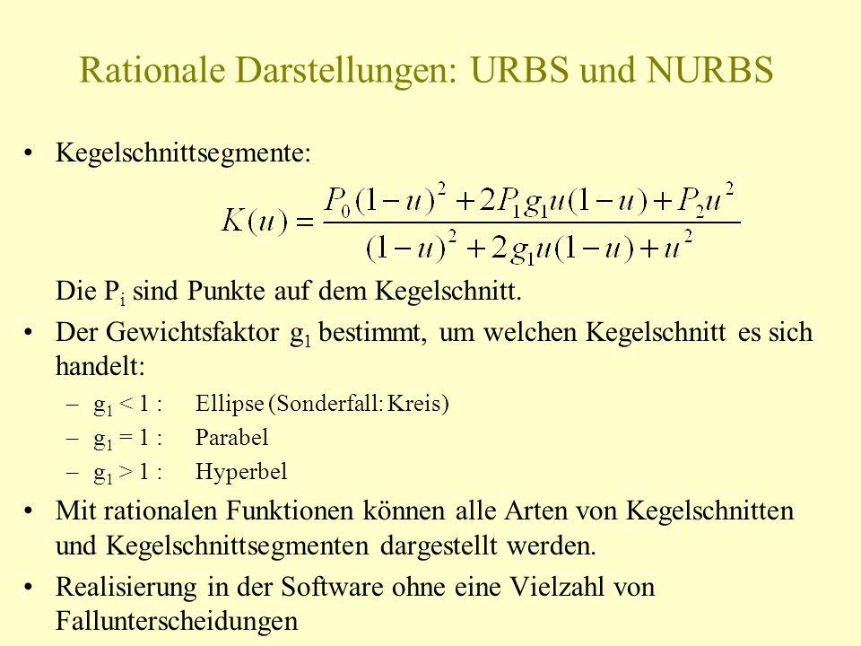 Rationale Darstellungen: URBS und NURBS Kegelschnittsegmente: Die P i sind Punkte auf dem Kegelschnitt. Der Gewichtsfaktor g 1 bestimmt, um welchen Ke