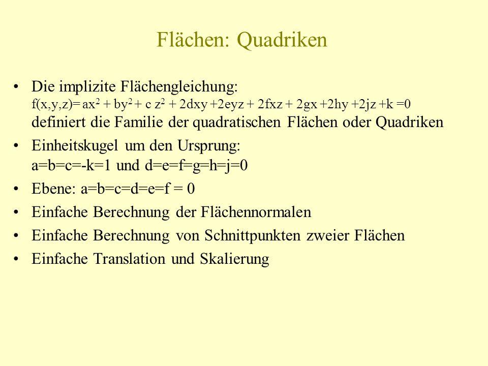 Flächen: Quadriken Die implizite Flächengleichung: f(x,y,z)= ax 2 + by 2 + c z 2 + 2dxy +2eyz + 2fxz + 2gx +2hy +2jz +k =0 definiert die Familie der q