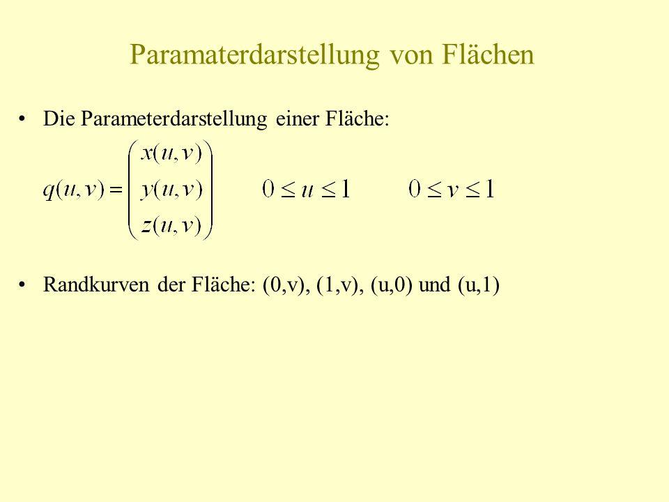 Paramaterdarstellung von Flächen Die Parameterdarstellung einer Fläche: Randkurven der Fläche: (0,v), (1,v), (u,0) und (u,1)