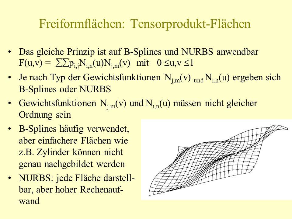 Freiformflächen: Tensorprodukt-Flächen Das gleiche Prinzip ist auf B-Splines und NURBS anwendbar F(u,v) = p i,j N i,n (u)N j,m (v) mit 0 u,v 1 Je nach