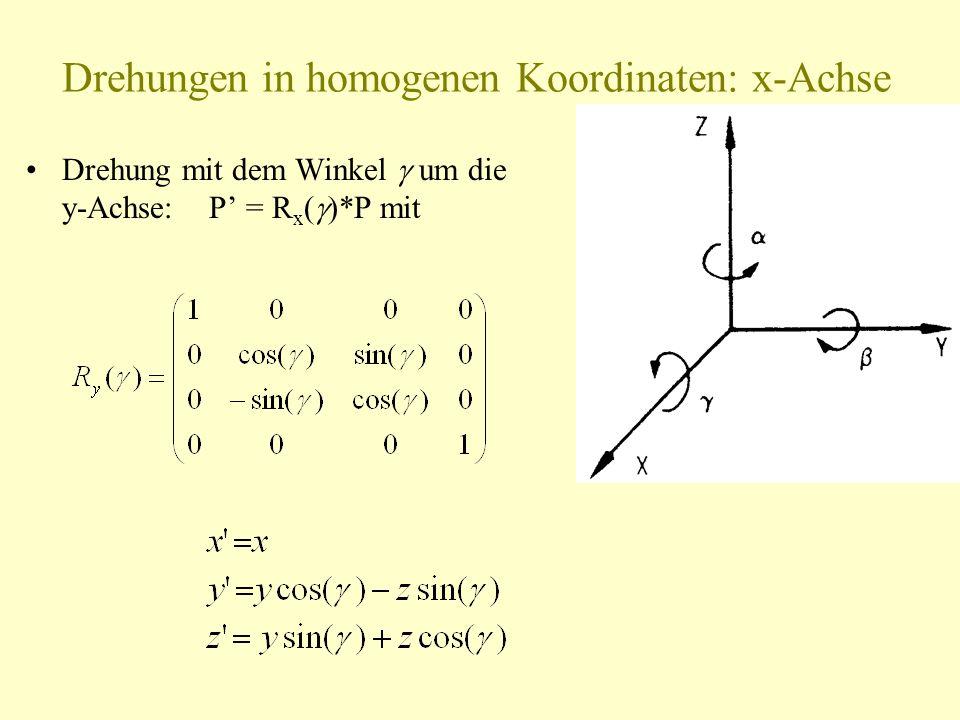Drehungen in homogenen Koordinaten: x-Achse Drehung mit dem Winkel um die y-Achse: P = R x ( *P mit