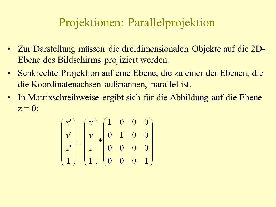 Projektionen: Parallelprojektion Zur Darstellung müssen die dreidimensionalen Objekte auf die 2D- Ebene des Bildschirms projiziert werden. Senkrechte
