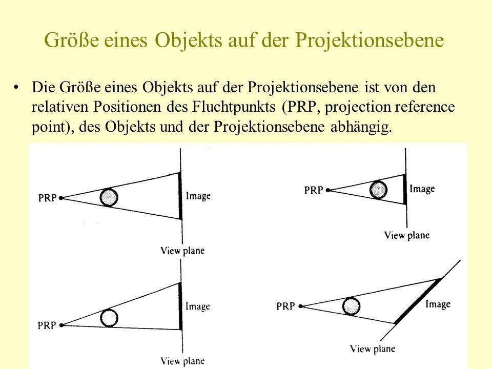 Größe eines Objekts auf der Projektionsebene Die Größe eines Objekts auf der Projektionsebene ist von den relativen Positionen des Fluchtpunkts (PRP,