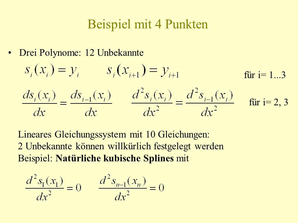 Beispiel mit 4 Punkten Drei Polynome: 12 Unbekannte für i= 1...3 für i= 2, 3 Lineares Gleichungssystem mit 10 Gleichungen: 2 Unbekannte können willkür