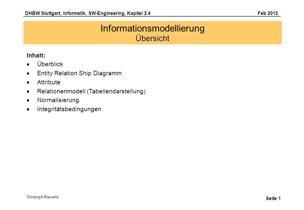 DHBW Stuttgart, Informatik, SW-Engineering, Kapitel 2.4 Feb 2012 Seite 2 Informationsmodellierung Überblick Phasen: Analyse-Phase Design-Phase Programmier-Phase Begriffe/Merkmale: Informationsobjekte ERD (oder auch ERM) Tabellen Datenbankschema Integritätsbedingung Datensätze, Indizes Speicherstrukturen