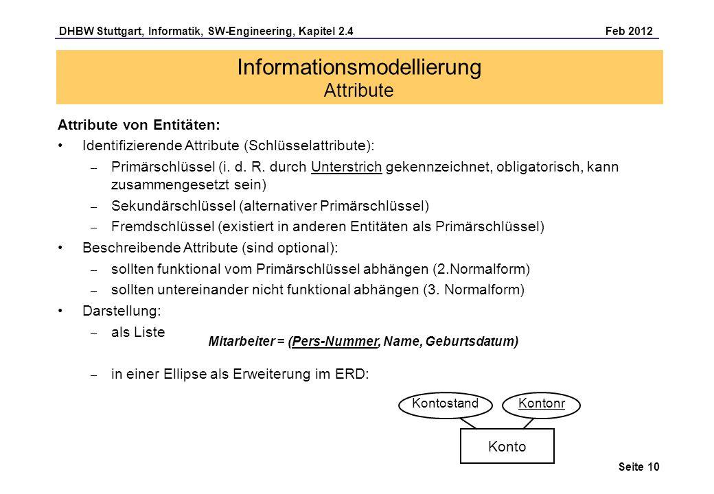 DHBW Stuttgart, Informatik, SW-Engineering, Kapitel 2.4 Feb 2012 Seite 10 Attribute von Entitäten: Identifizierende Attribute (Schlüsselattribute): –