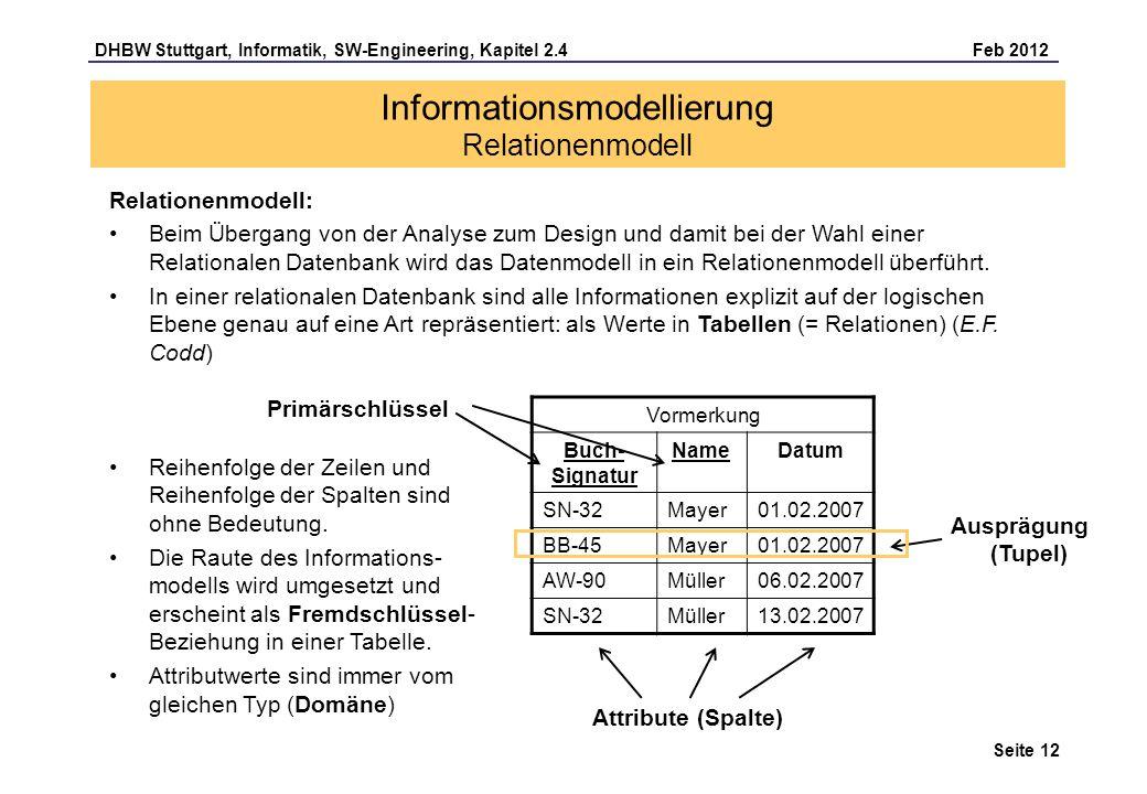 DHBW Stuttgart, Informatik, SW-Engineering, Kapitel 2.4 Feb 2012 Seite 12 Relationenmodell: Beim Übergang von der Analyse zum Design und damit bei der