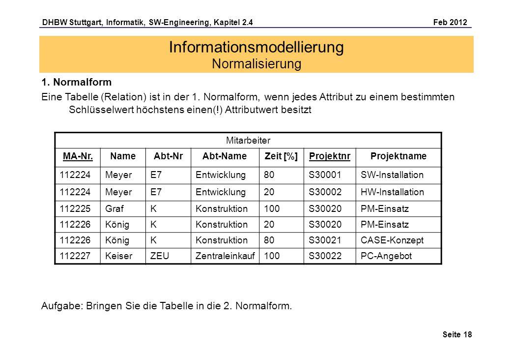 DHBW Stuttgart, Informatik, SW-Engineering, Kapitel 2.4 Feb 2012 Seite 18 1. Normalform Eine Tabelle (Relation) ist in der 1. Normalform, wenn jedes A