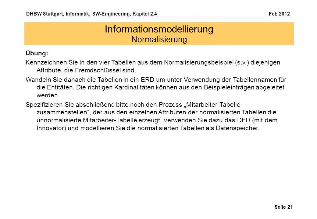DHBW Stuttgart, Informatik, SW-Engineering, Kapitel 2.4 Feb 2012 Seite 21 Übung: Kennzeichnen Sie in den vier Tabellen aus dem Normalisierungsbeispiel