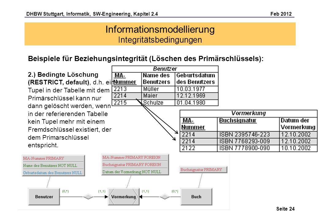 DHBW Stuttgart, Informatik, SW-Engineering, Kapitel 2.4 Feb 2012 Seite 24 Informationsmodellierung Integritätsbedingungen Beispiele für Beziehungsinte