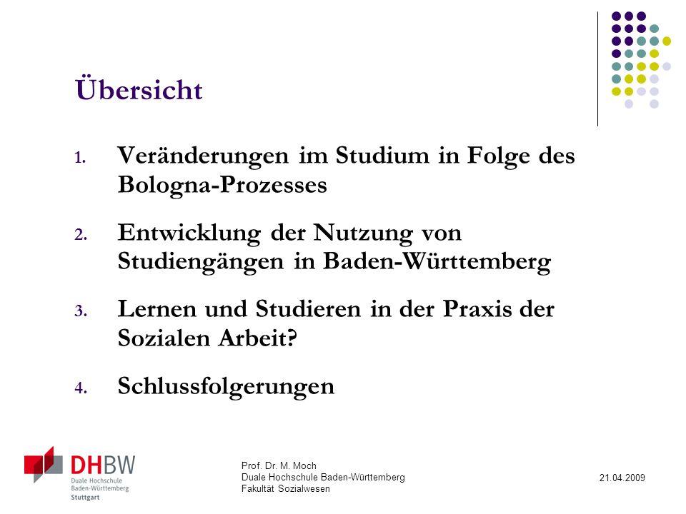 Prof.Dr. M. Moch Duale Hochschule Baden-Württemberg Fakultät Sozialwesen 21.04.2009 Übersicht 1.
