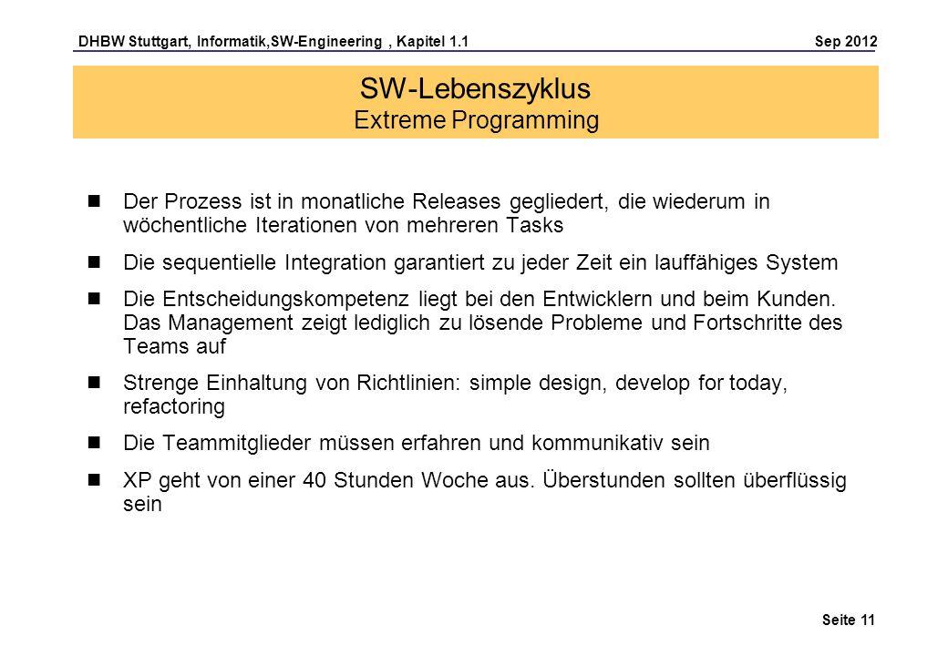 DHBW Stuttgart, Informatik,SW-Engineering, Kapitel 1.1 Sep 2012 Seite 11 SW-Lebenszyklus Extreme Programming Der Prozess ist in monatliche Releases ge