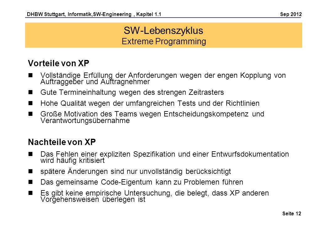 DHBW Stuttgart, Informatik,SW-Engineering, Kapitel 1.1 Sep 2012 Seite 12 SW-Lebenszyklus Extreme Programming Vorteile von XP Vollständige Erfüllung de