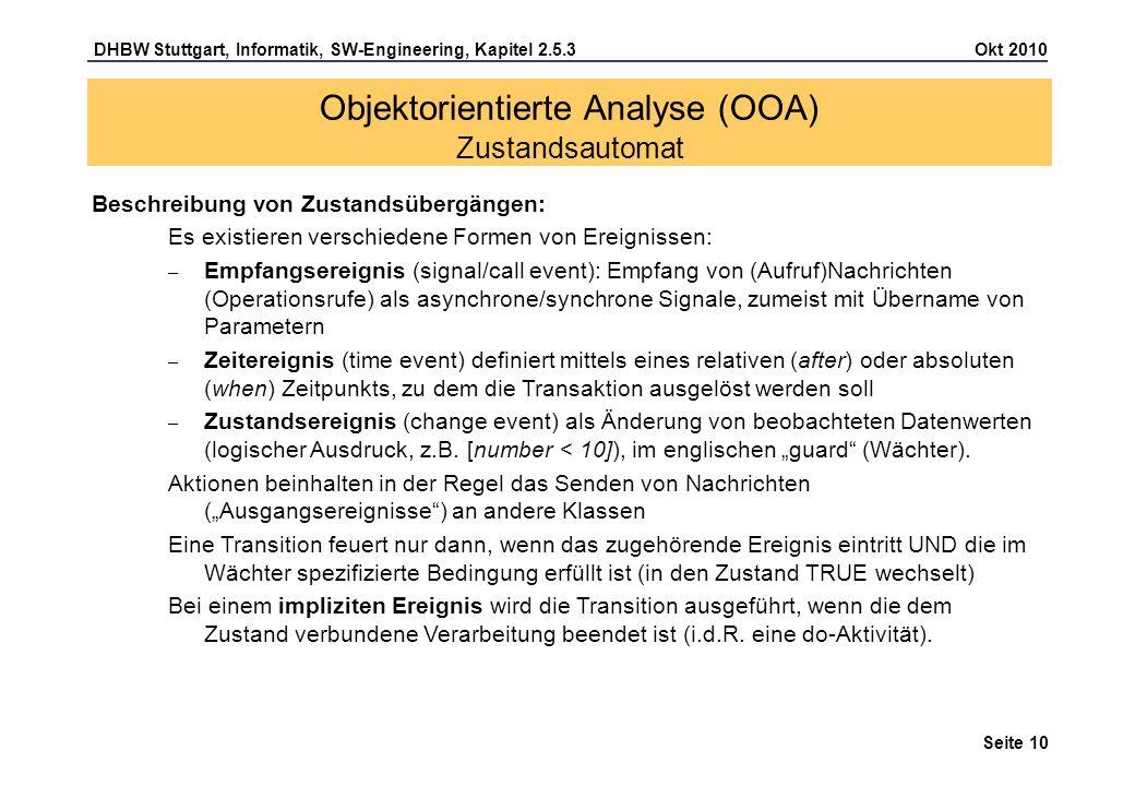 DHBW Stuttgart, Informatik, SW-Engineering, Kapitel 2.5.3 Okt 2010 Seite 10 Beschreibung von Zustandsübergängen: Es existieren verschiedene Formen von
