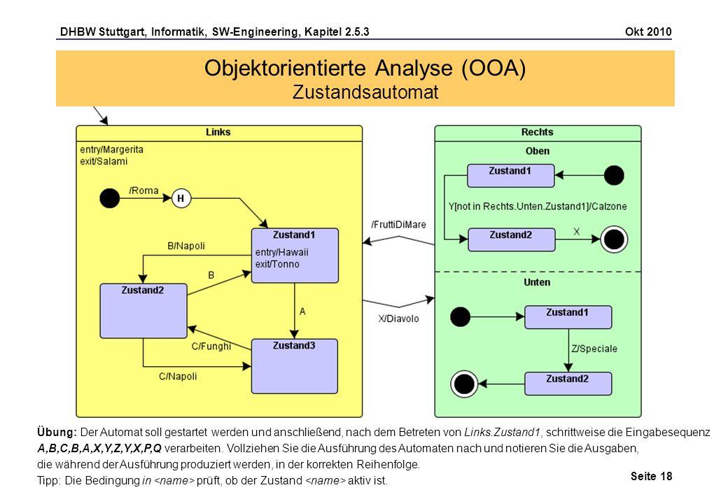 DHBW Stuttgart, Informatik, SW-Engineering, Kapitel 2.5.3 Okt 2010 Seite 18 Übung: Der Automat soll gestartet werden und anschließend, nach dem Betret