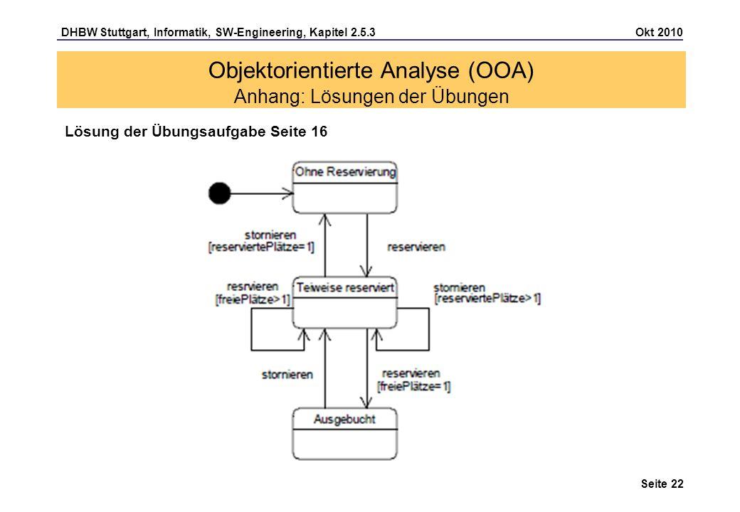DHBW Stuttgart, Informatik, SW-Engineering, Kapitel 2.5.3 Okt 2010 Seite 22 Objektorientierte Analyse (OOA) Anhang: Lösungen der Übungen Lösung der Üb
