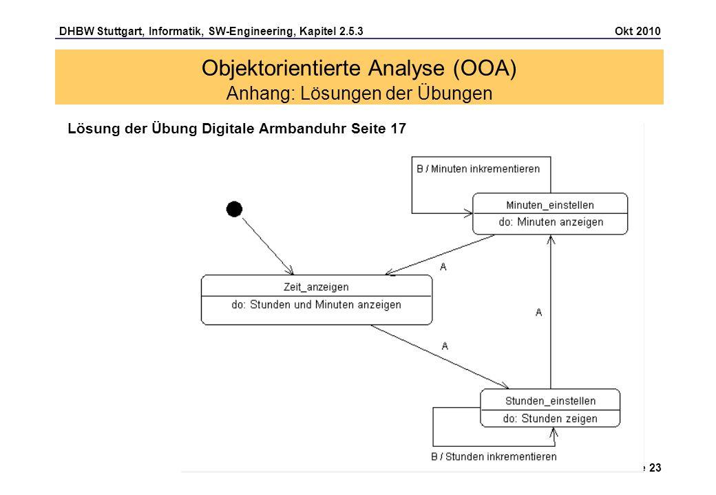 DHBW Stuttgart, Informatik, SW-Engineering, Kapitel 2.5.3 Okt 2010 Seite 23 Lösung der Übung Digitale Armbanduhr Seite 17 Objektorientierte Analyse (O