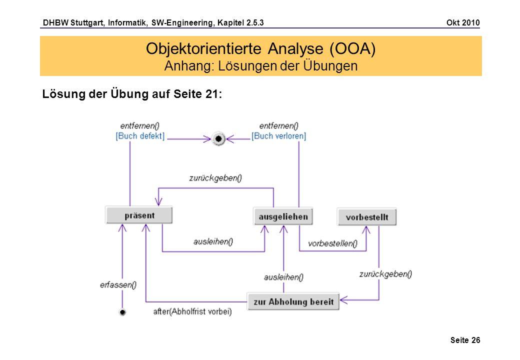 DHBW Stuttgart, Informatik, SW-Engineering, Kapitel 2.5.3 Okt 2010 Seite 26 Objektorientierte Analyse (OOA) Anhang: Lösungen der Übungen Lösung der Üb