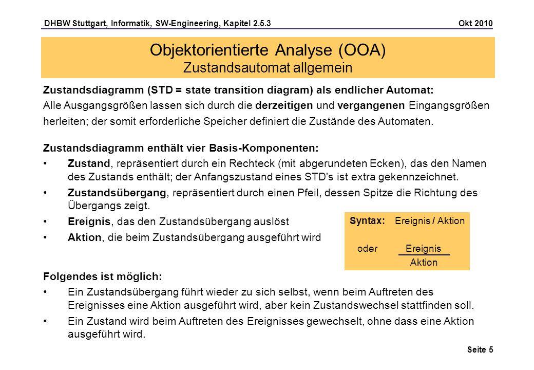DHBW Stuttgart, Informatik, SW-Engineering, Kapitel 2.5.3 Okt 2010 Seite 6 Mit Hilfe des Zustandsdiagramms visualisiert man die verschiedenen Zustände eines Objekts, die es im Laufe seines Lebens einnehmen kann, und die Funktionen, die zu Zustandsänderungen des Objektes führen.