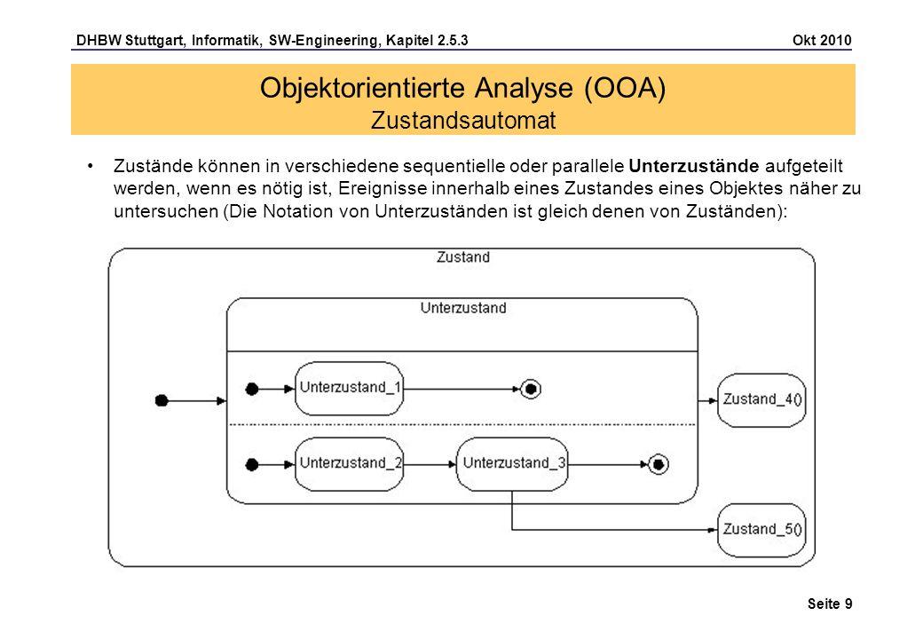 DHBW Stuttgart, Informatik, SW-Engineering, Kapitel 2.5.3 Okt 2010 Seite 10 Beschreibung von Zustandsübergängen: Es existieren verschiedene Formen von Ereignissen: – Empfangsereignis (signal/call event): Empfang von (Aufruf)Nachrichten (Operationsrufe) als asynchrone/synchrone Signale, zumeist mit Übername von Parametern – Zeitereignis (time event) definiert mittels eines relativen (after) oder absoluten (when) Zeitpunkts, zu dem die Transaktion ausgelöst werden soll – Zustandsereignis (change event) als Änderung von beobachteten Datenwerten (logischer Ausdruck, z.B.