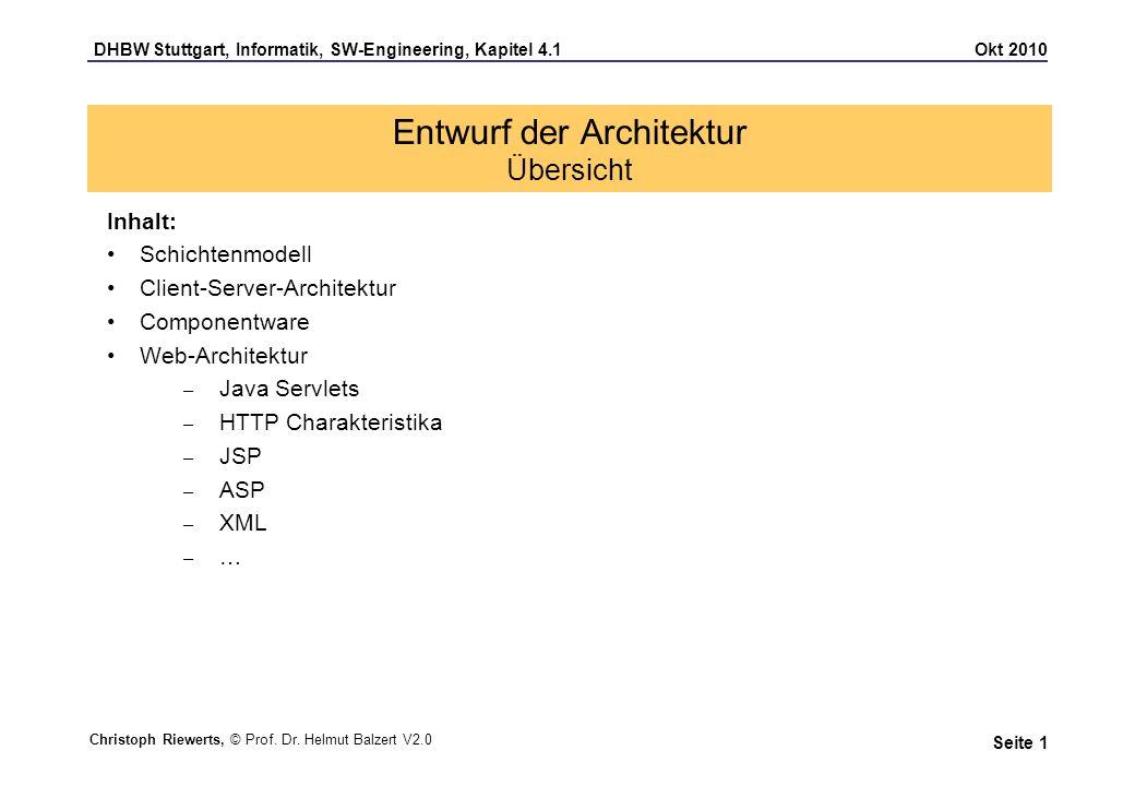 DHBW Stuttgart, Informatik, SW-Engineering, Kapitel 4.1 Okt 2010 Seite 12 Entwurf der Architektur Charakteristika einer Web-Architektur Die SW-Verteilung ist einfach, da keine anwendungsspezifische Software auf dem Web-Client installiert werden muss Es ist aufwändig, den Zustand während und zwischen Sitzungen zu speichern und zu verfolgen Es müssen in der Regel mehrere unterschiedliche Web- Browser unterstützt werden 2 Schichten Web-Client Web-Server 3 Schichten Web-Client 4 Schichten Web-Client Daten-Server Web-Server Anwendungs- Server Daten-Server