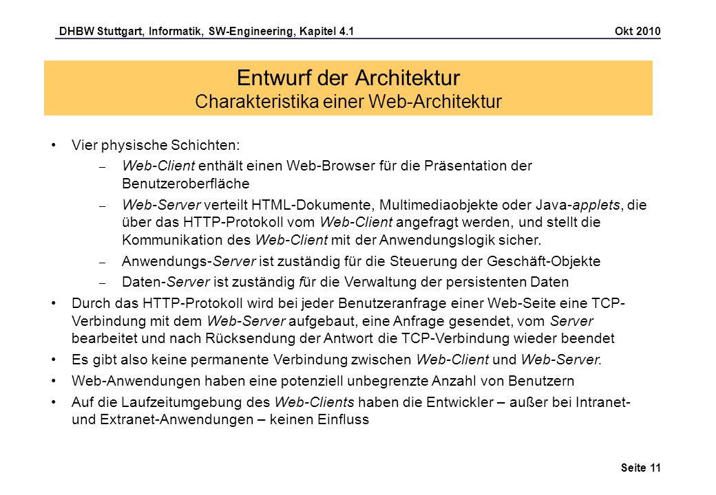 DHBW Stuttgart, Informatik, SW-Engineering, Kapitel 4.1 Okt 2010 Seite 11 Entwurf der Architektur Charakteristika einer Web-Architektur Vier physische