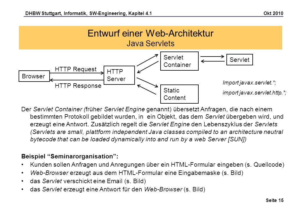 DHBW Stuttgart, Informatik, SW-Engineering, Kapitel 4.1 Okt 2010 Seite 15 Entwurf einer Web-Architektur Java Servlets Der Servlet Container (früher Se
