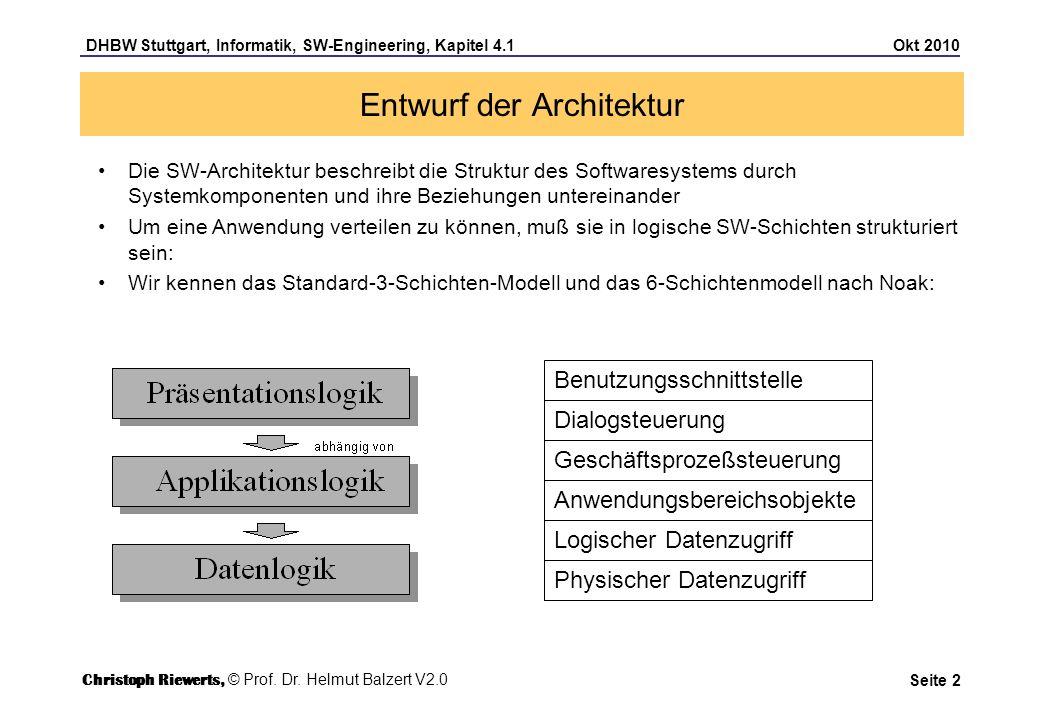 DHBW Stuttgart, Informatik, SW-Engineering, Kapitel 4.1 Okt 2010 Seite 3 Entwurf der Architektur Logische Schichten können mit Hilfe von Verteilungsmustern auf physische Schichten abgebildet werden Die Verteilungsmuster hängen davon ab, ob – eine Client/Server-Architektur oder – eine Web-Architektur zugrunde gelegt wird.